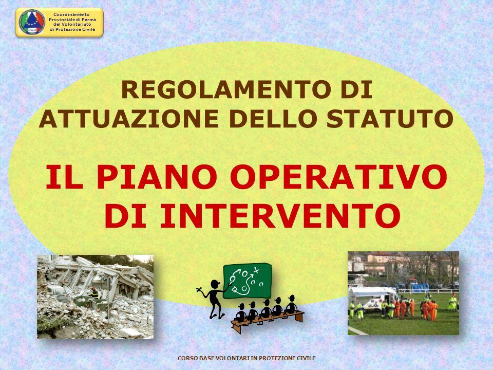 Coordinamento Provinciale di Parma del Volontariato di Protezione Civile CORSO BASE VOLONTARI IN PROTEZIONE CIVILE ORGANI DEL VOLONTARIATO DI PROTEZIO