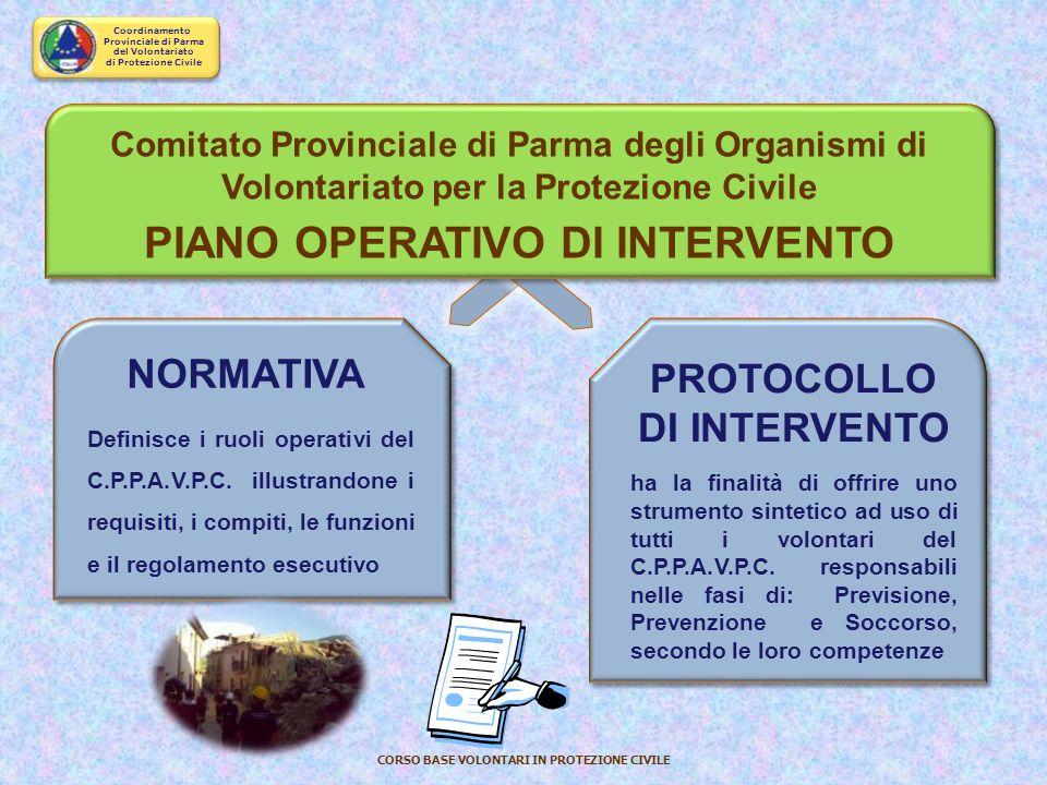 Coordinamento Provinciale di Parma del Volontariato di Protezione Civile CORSO BASE VOLONTARI IN PROTEZIONE CIVILE REGOLAMENTO DI ATTUAZIONE DELLO STA