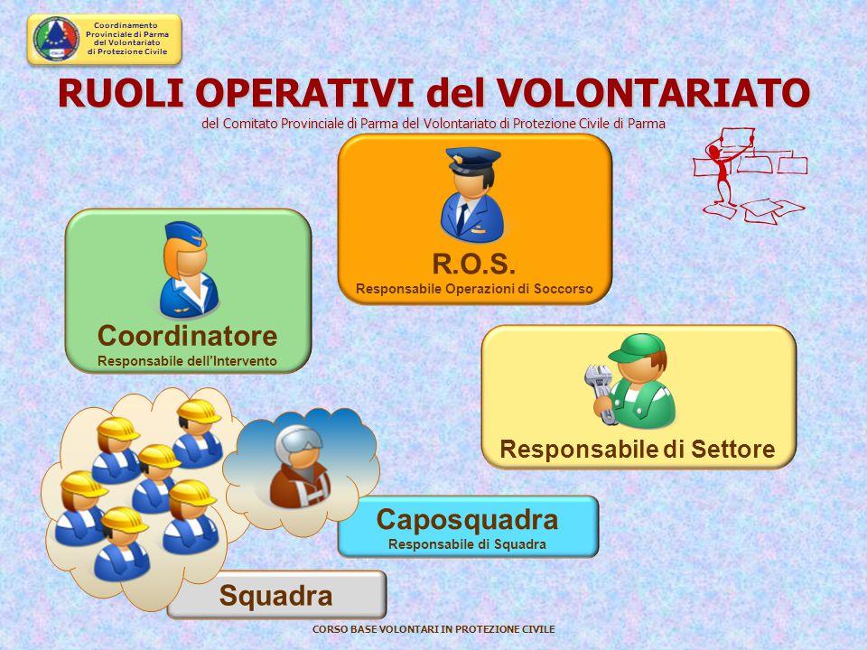 """Coordinamento Provinciale di Parma del Volontariato di Protezione Civile CORSO BASE VOLONTARI IN PROTEZIONE CIVILE I DELEGATI: ruolo di """"Referente Ope"""