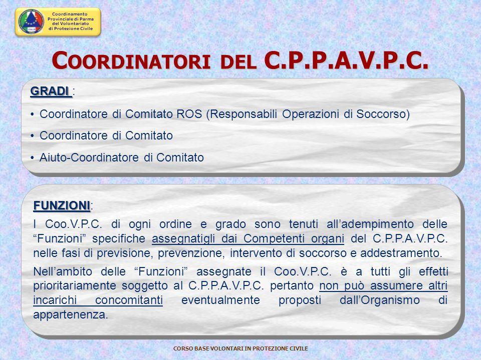 Coordinamento Provinciale di Parma del Volontariato di Protezione Civile CORSO BASE VOLONTARI IN PROTEZIONE CIVILE Squadra Caposquadra Responsabile di