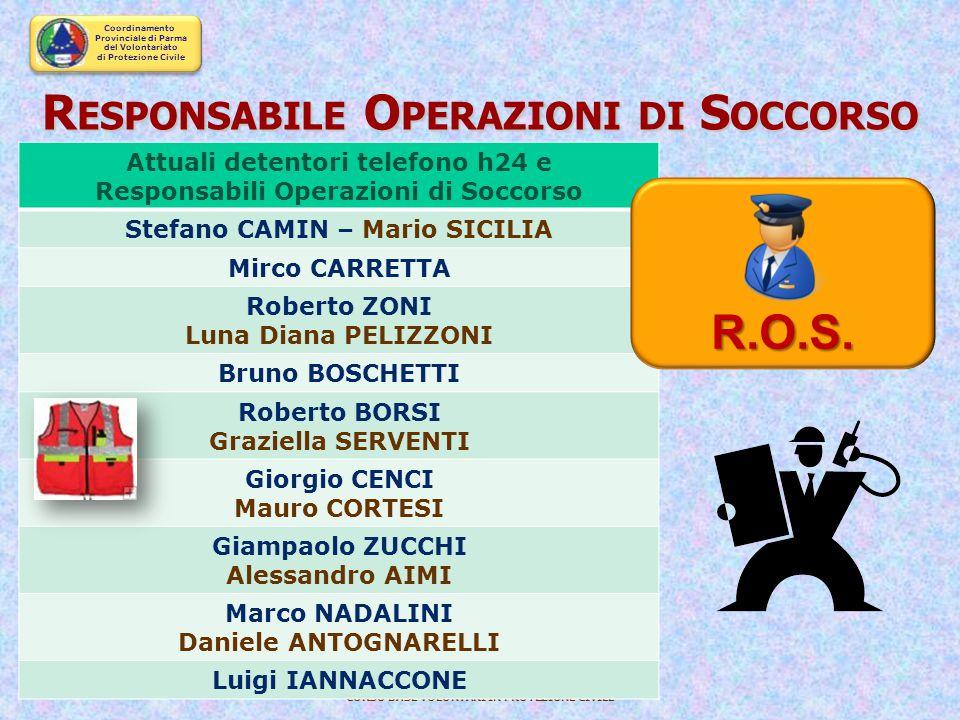 Coordinamento Provinciale di Parma del Volontariato di Protezione Civile CORSO BASE VOLONTARI IN PROTEZIONE CIVILE Il Responsabile delle Operazioni di