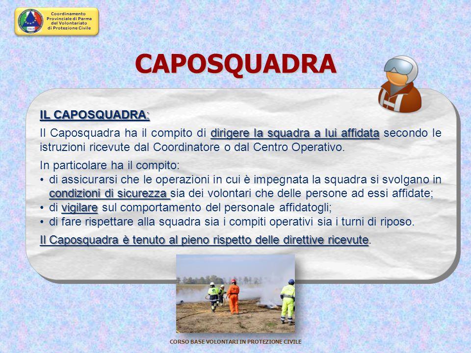 Coordinamento Provinciale di Parma del Volontariato di Protezione Civile CORSO BASE VOLONTARI IN PROTEZIONE CIVILE REFERENTE di SETTORE SPECIFICO d'IN