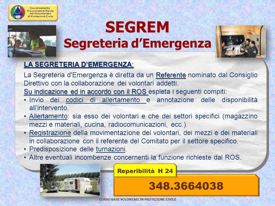 Coordinamento Provinciale di Parma del Volontariato di Protezione Civile CORSO BASE VOLONTARI IN PROTEZIONE CIVILE IL CAPOSQUADRA: dirigere la squadra