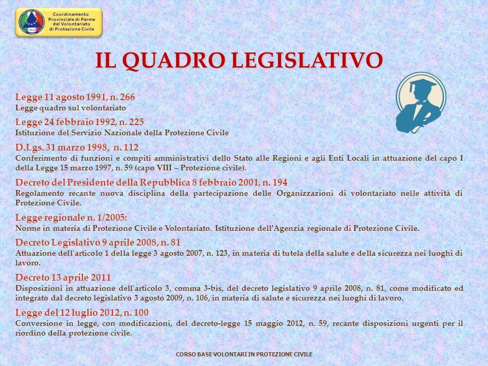 Coordinamento Provinciale di Parma del Volontariato di Protezione Civile CORSO BASE VOLONTARI IN PROTEZIONE CIVILE Enti coinvolti Esempio seconda part