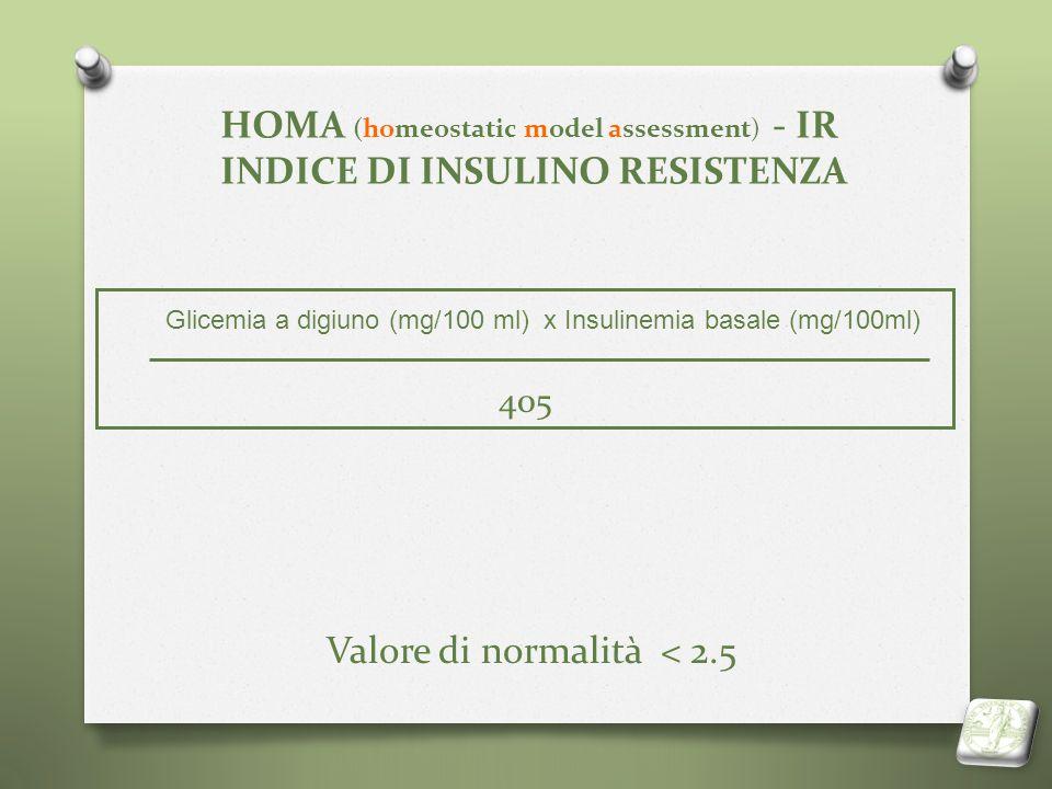 HOMA (homeostatic model assessment) - IR INDICE DI INSULINO RESISTENZA Valore di normalità < 2.5 Glicemia a digiuno (mg/100 ml) x Insulinemia basale (
