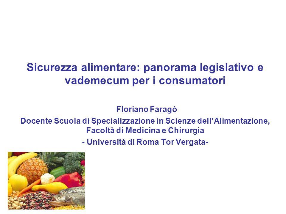Sicurezza alimentare: panorama legislativo e vademecum per i consumatori Floriano Faragò Docente Scuola di Specializzazione in Scienze dell'Alimentazi