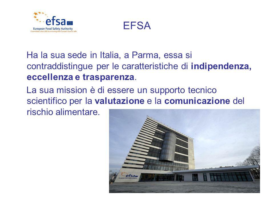 EFSA Ha la sua sede in Italia, a Parma, essa si contraddistingue per le caratteristiche di indipendenza, eccellenza e trasparenza. La sua mission è di