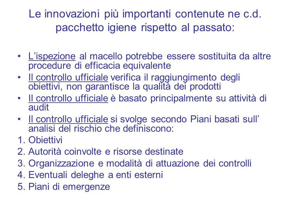 Le innovazioni più importanti contenute ne c.d. pacchetto igiene rispetto al passato: L'ispezione al macello potrebbe essere sostituita da altre proce