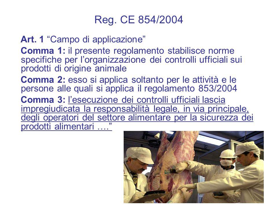 """Reg. CE 854/2004 Art. 1 """"Campo di applicazione"""" Comma 1: il presente regolamento stabilisce norme specifiche per l'organizzazione dei controlli uffici"""