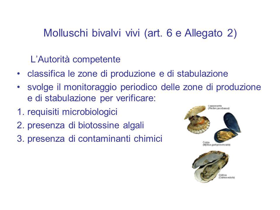 Molluschi bivalvi vivi (art. 6 e Allegato 2) L'Autorità competente classifica le zone di produzione e di stabulazione svolge il monitoraggio periodico