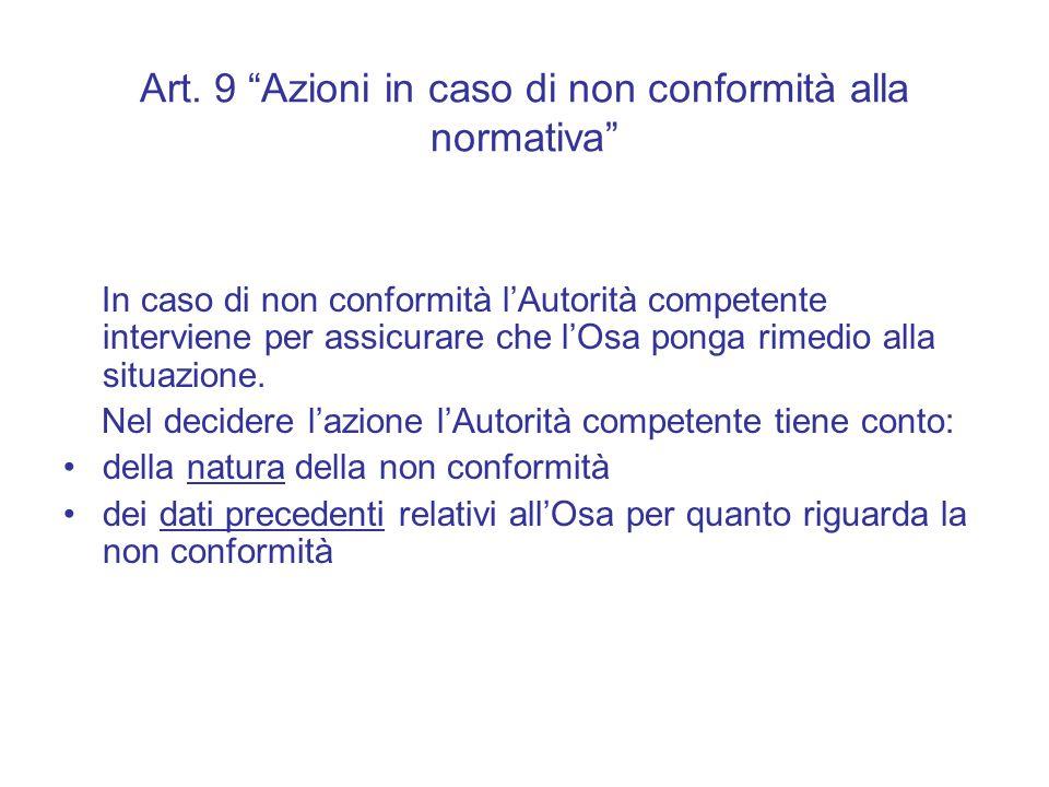 """Art. 9 """"Azioni in caso di non conformità alla normativa"""" In caso di non conformità l'Autorità competente interviene per assicurare che l'Osa ponga rim"""