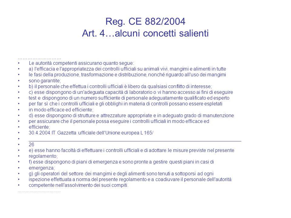 Reg. CE 882/2004 Art. 4…alcuni concetti salienti ……………………… Le autorità competenti assicurano quanto segue: a) l'efficacia e l'appropriatezza dei contr