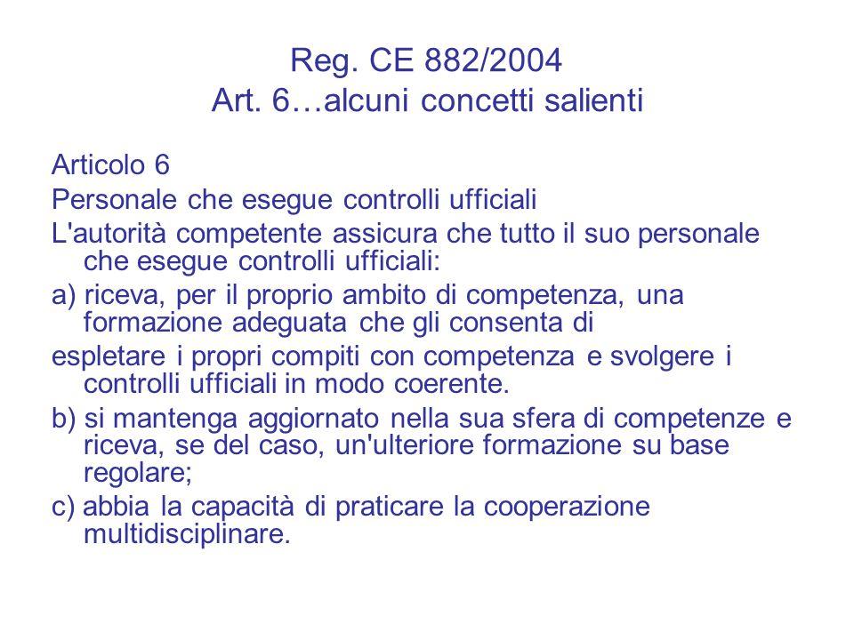 Reg. CE 882/2004 Art. 6…alcuni concetti salienti Articolo 6 Personale che esegue controlli ufficiali L'autorità competente assicura che tutto il suo p