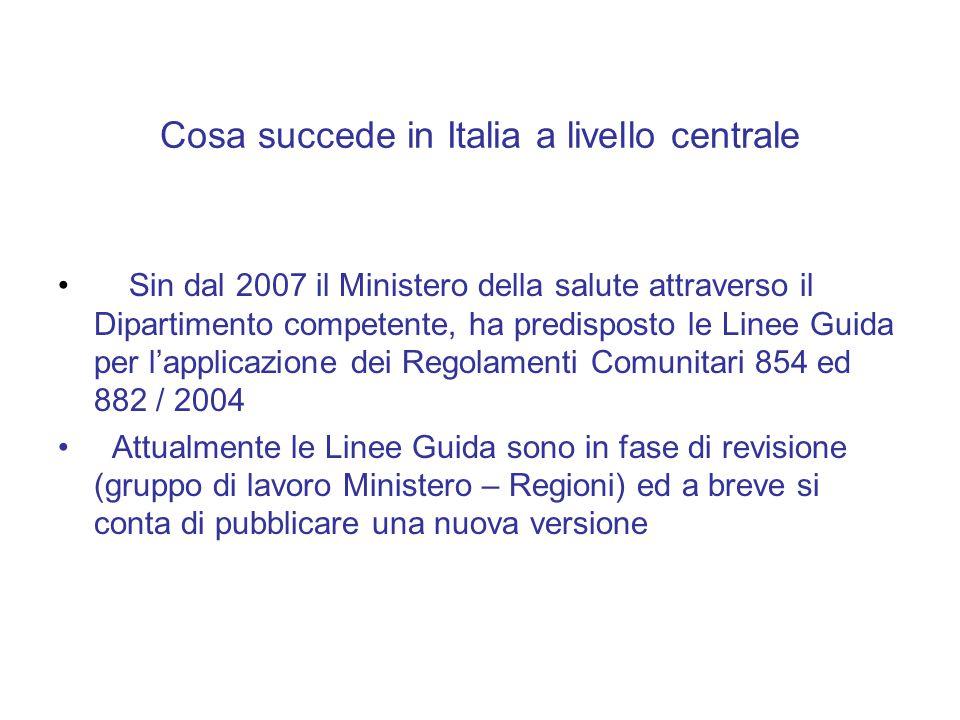 Cosa succede in Italia a livello centrale Sin dal 2007 il Ministero della salute attraverso il Dipartimento competente, ha predisposto le Linee Guida