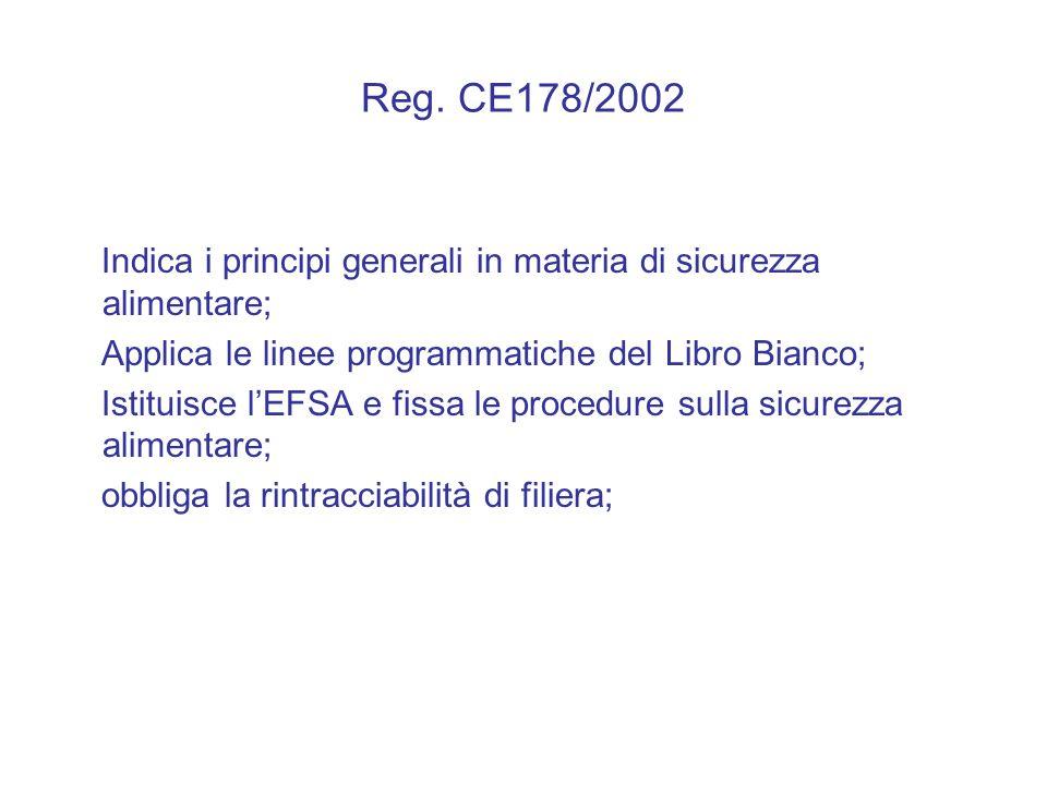 Reg. CE178/2002 Indica i principi generali in materia di sicurezza alimentare; Applica le linee programmatiche del Libro Bianco; Istituisce l'EFSA e f