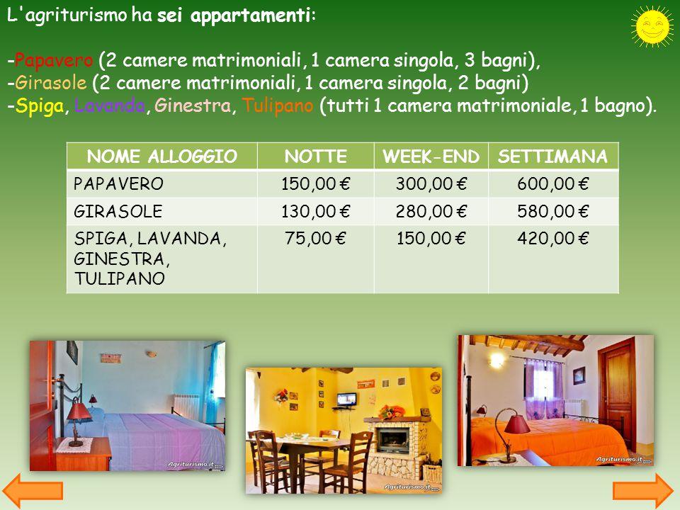 L agriturismo ha sei appartamenti: -Papavero (2 camere matrimoniali, 1 camera singola, 3 bagni), -Girasole (2 camere matrimoniali, 1 camera singola, 2 bagni) -Spiga, Lavanda, Ginestra, Tulipano (tutti 1 camera matrimoniale, 1 bagno).