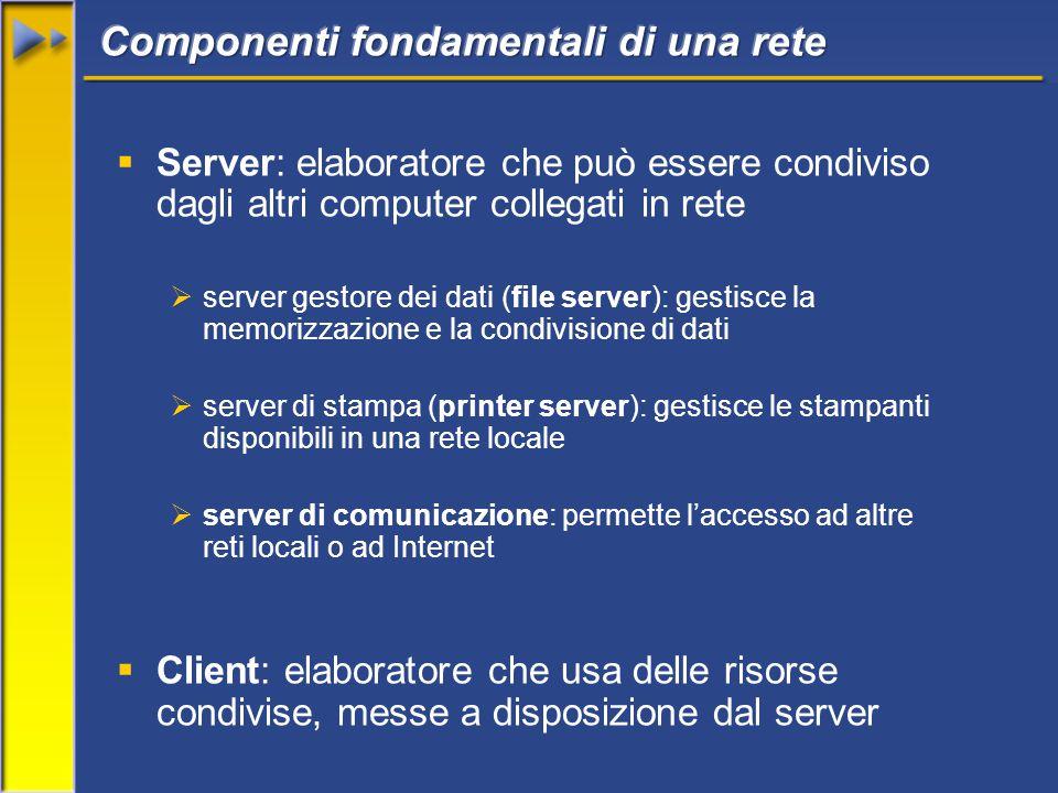  Server: elaboratore che può essere condiviso dagli altri computer collegati in rete  server gestore dei dati (file server): gestisce la memorizzazi