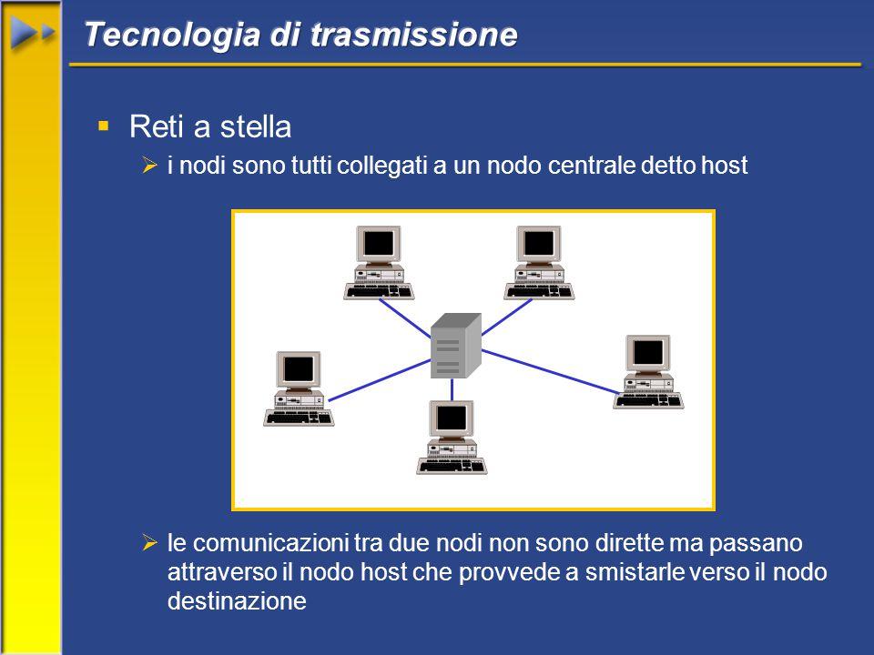  Reti a stella  i nodi sono tutti collegati a un nodo centrale detto host  le comunicazioni tra due nodi non sono dirette ma passano attraverso il nodo host che provvede a smistarle verso il nodo destinazione