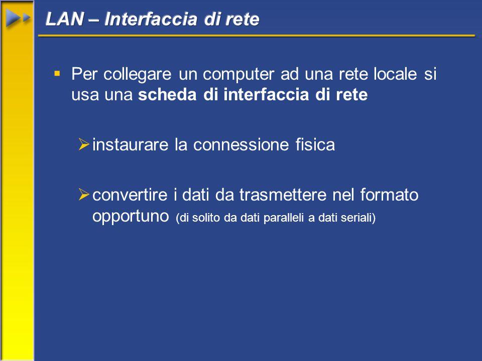  Per collegare un computer ad una rete locale si usa una scheda di interfaccia di rete  instaurare la connessione fisica  convertire i dati da trasmettere nel formato opportuno (di solito da dati paralleli a dati seriali)
