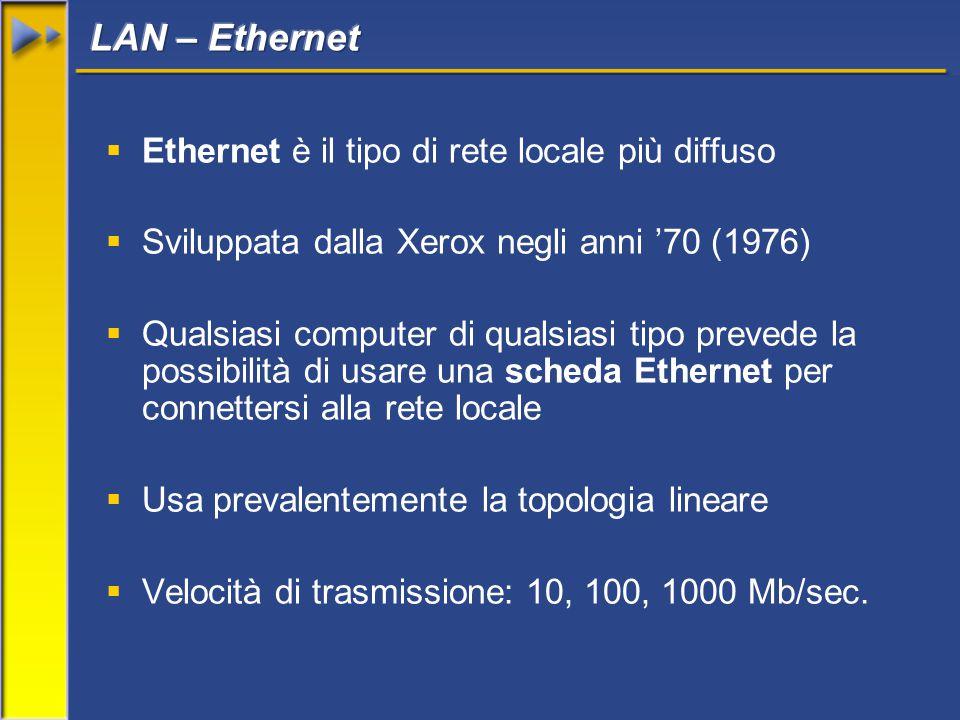  Ethernet è il tipo di rete locale più diffuso  Sviluppata dalla Xerox negli anni '70 (1976)  Qualsiasi computer di qualsiasi tipo prevede la possibilità di usare una scheda Ethernet per connettersi alla rete locale  Usa prevalentemente la topologia lineare  Velocità di trasmissione: 10, 100, 1000 Mb/sec.