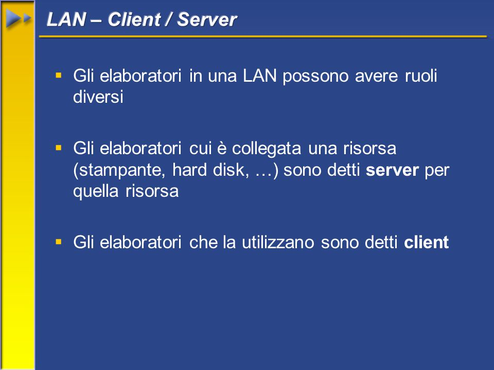  Gli elaboratori in una LAN possono avere ruoli diversi  Gli elaboratori cui è collegata una risorsa (stampante, hard disk, …) sono detti server per quella risorsa  Gli elaboratori che la utilizzano sono detti client