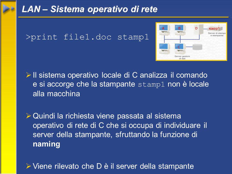 >print file1.doc stamp1  Il sistema operativo locale di C analizza il comando e si accorge che la stampante stamp1 non è locale alla macchina  Quindi la richiesta viene passata al sistema operativo di rete di C che si occupa di individuare il server della stampante, sfruttando la funzione di naming  Viene rilevato che D è il server della stampante AB C Dstamp1