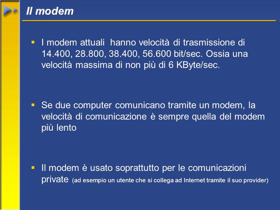  I modem attuali hanno velocità di trasmissione di 14.400, 28.800, 38.400, 56.600 bit/sec. Ossia una velocità massima di non più di 6 KByte/sec.  Se