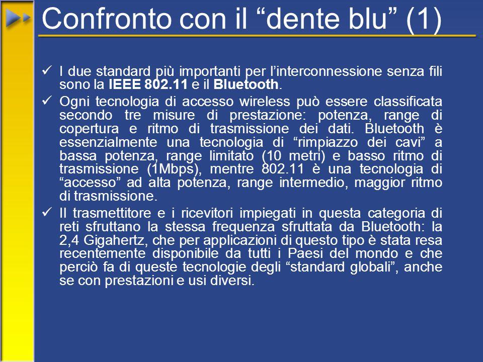 """Confronto con il """"dente blu"""" (1) I due standard più importanti per l'interconnessione senza fili sono la IEEE 802.11 e il Bluetooth. Ogni tecnologia d"""