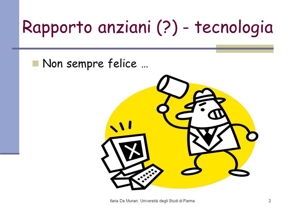 Ilaria De Munari, Università degli Studi di Parma2 Rapporto anziani (?) - tecnologia Non sempre felice …