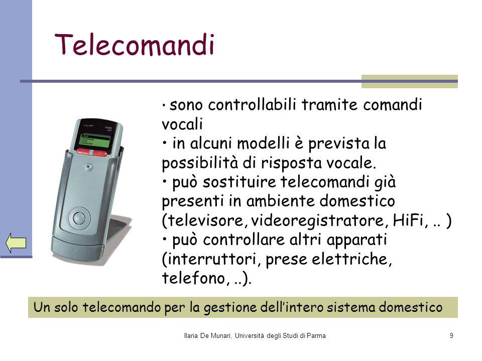 Ilaria De Munari, Università degli Studi di Parma9 Telecomandi sono controllabili tramite comandi vocali in alcuni modelli è prevista la possibilità d