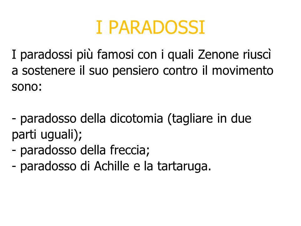 I PARADOSSI I paradossi più famosi con i quali Zenone riuscì a sostenere il suo pensiero contro il movimento sono: - paradosso della dicotomia (tagliare in due parti uguali); - paradosso della freccia; - paradosso di Achille e la tartaruga.