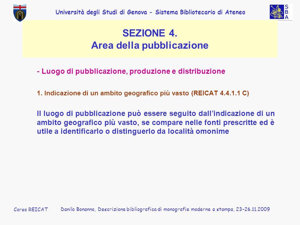 Università degli Studi di Genova - Sistema Bibliotecario di Ateneo Corso REICAT Danilo Bonanno, Descrizione bibliografica di monografie moderne a stam