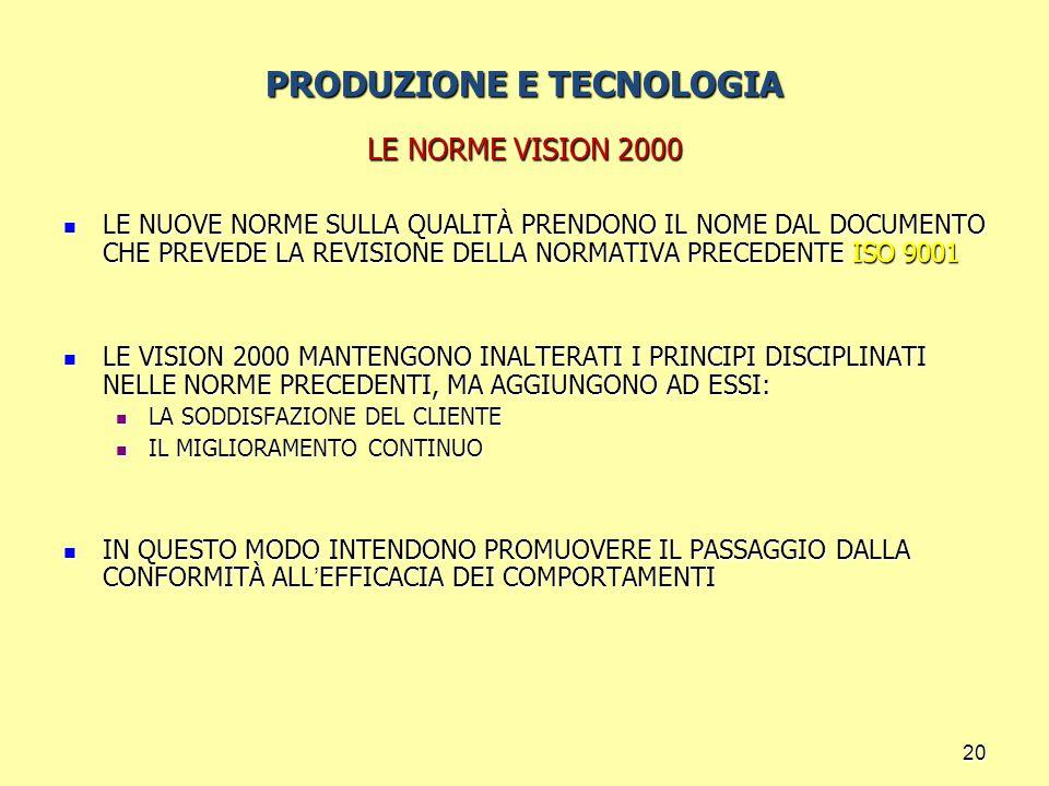 20 PRODUZIONE E TECNOLOGIA LE NORME VISION 2000 LE NUOVE NORME SULLA QUALITÀ PRENDONO IL NOME DAL DOCUMENTO CHE PREVEDE LA REVISIONE DELLA NORMATIVA PRECEDENTE ISO 9001 LE NUOVE NORME SULLA QUALITÀ PRENDONO IL NOME DAL DOCUMENTO CHE PREVEDE LA REVISIONE DELLA NORMATIVA PRECEDENTE ISO 9001 LE VISION 2000 MANTENGONO INALTERATI I PRINCIPI DISCIPLINATI NELLE NORME PRECEDENTI, MA AGGIUNGONO AD ESSI: LE VISION 2000 MANTENGONO INALTERATI I PRINCIPI DISCIPLINATI NELLE NORME PRECEDENTI, MA AGGIUNGONO AD ESSI: LA SODDISFAZIONE DEL CLIENTE LA SODDISFAZIONE DEL CLIENTE IL MIGLIORAMENTO CONTINUO IL MIGLIORAMENTO CONTINUO IN QUESTO MODO INTENDONO PROMUOVERE IL PASSAGGIO DALLA CONFORMITÀ ALL ' EFFICACIA DEI COMPORTAMENTI IN QUESTO MODO INTENDONO PROMUOVERE IL PASSAGGIO DALLA CONFORMITÀ ALL ' EFFICACIA DEI COMPORTAMENTI