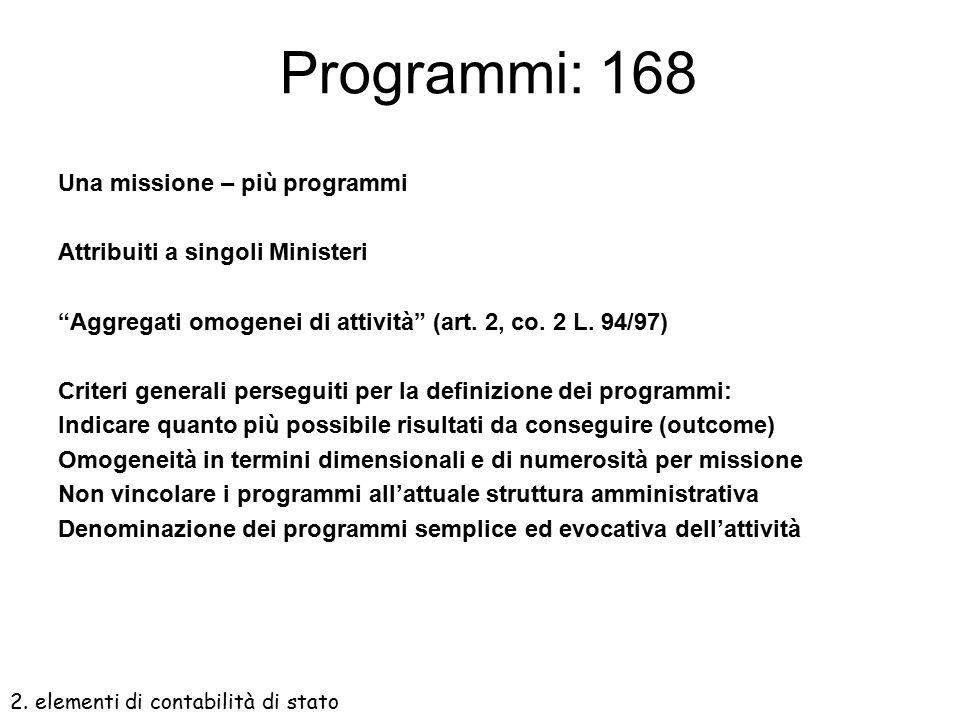 Missioni: 34  Individuano le principali finalità dello Stato  Rappresentano profili politico-istituzionali  Superano segmentazione tra amministrazi