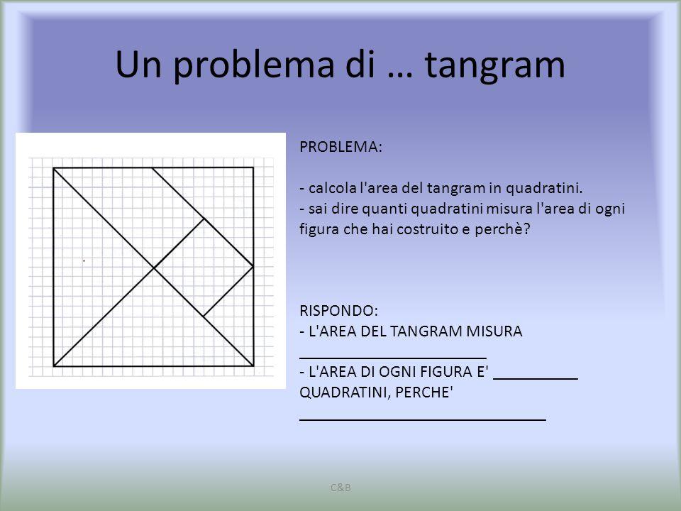Un problema di … tangram C&B PROBLEMA: - calcola l'area del tangram in quadratini. - sai dire quanti quadratini misura l'area di ogni figura che hai c
