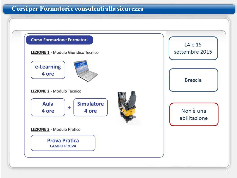 Corsi per Formatori e consulenti alla sicurezza 3 14 e 15 settembre 2015 Brescia Non è una abilitazione