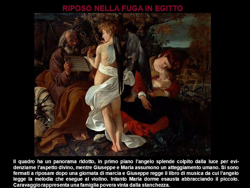 Il quadro ha un panorama ridotto, in primo piano l'angelo splende colpito dalla luce per evi- denziarne l'aspetto divino, mentre Giuseppe e Maria assu