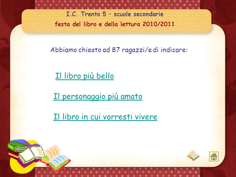 I.C. Trento 5 – scuole secondarie festa del libro e della lettura 2010/2011  consigli di tutti i generi… consigli di tutti i generi… ss a l o t t o