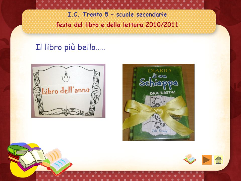 I.C. Trento 5 – scuole secondarie festa del libro e della lettura 2010/2011 Abbiamo chiesto ad 87 ragazzi/e di indicare: Il libro più bello Il persona