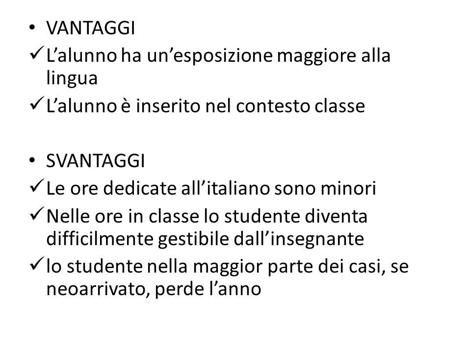 VANTAGGI L'alunno ha un'esposizione maggiore alla lingua L'alunno è inserito nel contesto classe SVANTAGGI Le ore dedicate all'italiano sono minori Nelle ore in classe lo studente diventa difficilmente gestibile dall'insegnante lo studente nella maggior parte dei casi, se neoarrivato, perde l'anno