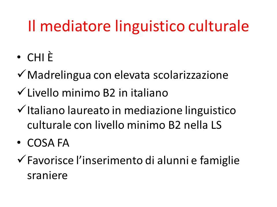 Il mediatore linguistico culturale CHI È Madrelingua con elevata scolarizzazione Livello minimo B2 in italiano Italiano laureato in mediazione linguistico culturale con livello minimo B2 nella LS COSA FA Favorisce l'inserimento di alunni e famiglie sraniere