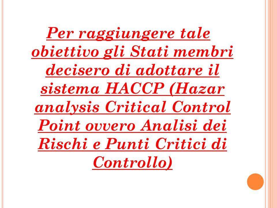 Per raggiungere tale obiettivo gli Stati membri decisero di adottare il sistema HACCP (Hazar analysis Critical Control Point ovvero Analisi dei Rischi