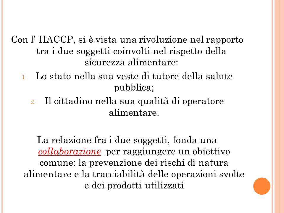 Con l' HACCP, si è vista una rivoluzione nel rapporto tra i due soggetti coinvolti nel rispetto della sicurezza alimentare: 1. Lo stato nella sua vest