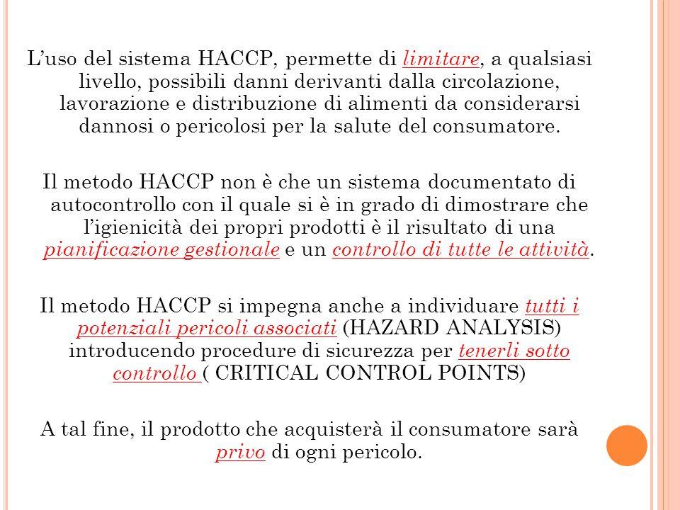 L'uso del sistema HACCP, permette di limitare, a qualsiasi livello, possibili danni derivanti dalla circolazione, lavorazione e distribuzione di alimenti da considerarsi dannosi o pericolosi per la salute del consumatore.