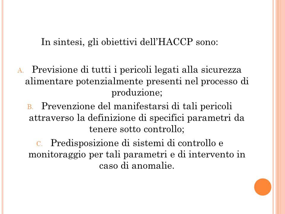In sintesi, gli obiettivi dell'HACCP sono: A. Previsione di tutti i pericoli legati alla sicurezza alimentare potenzialmente presenti nel processo di