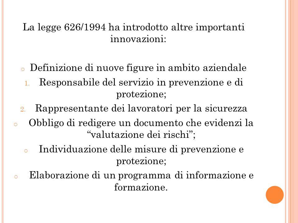 La legge 626/1994 ha introdotto altre importanti innovazioni: o Definizione di nuove figure in ambito aziendale 1. Responsabile del servizio in preven