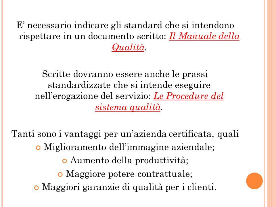 E' necessario indicare gli standard che si intendono rispettare in un documento scritto: Il Manuale della Qualità. Scritte dovranno essere anche le pr
