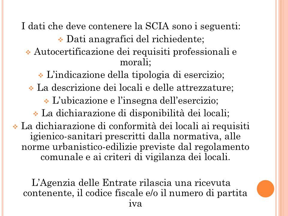 I dati che deve contenere la SCIA sono i seguenti:  Dati anagrafici del richiedente;  Autocertificazione dei requisiti professionali e morali;  L'i
