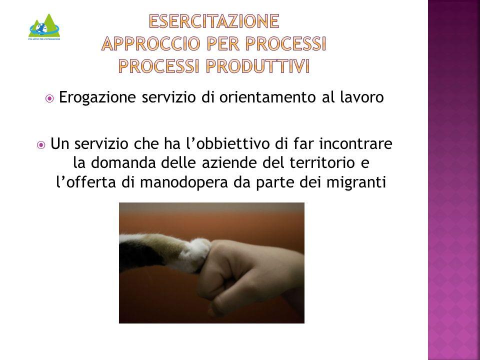  Erogazione servizio di orientamento al lavoro  Un servizio che ha l'obbiettivo di far incontrare la domanda delle aziende del territorio e l'offerta di manodopera da parte dei migranti