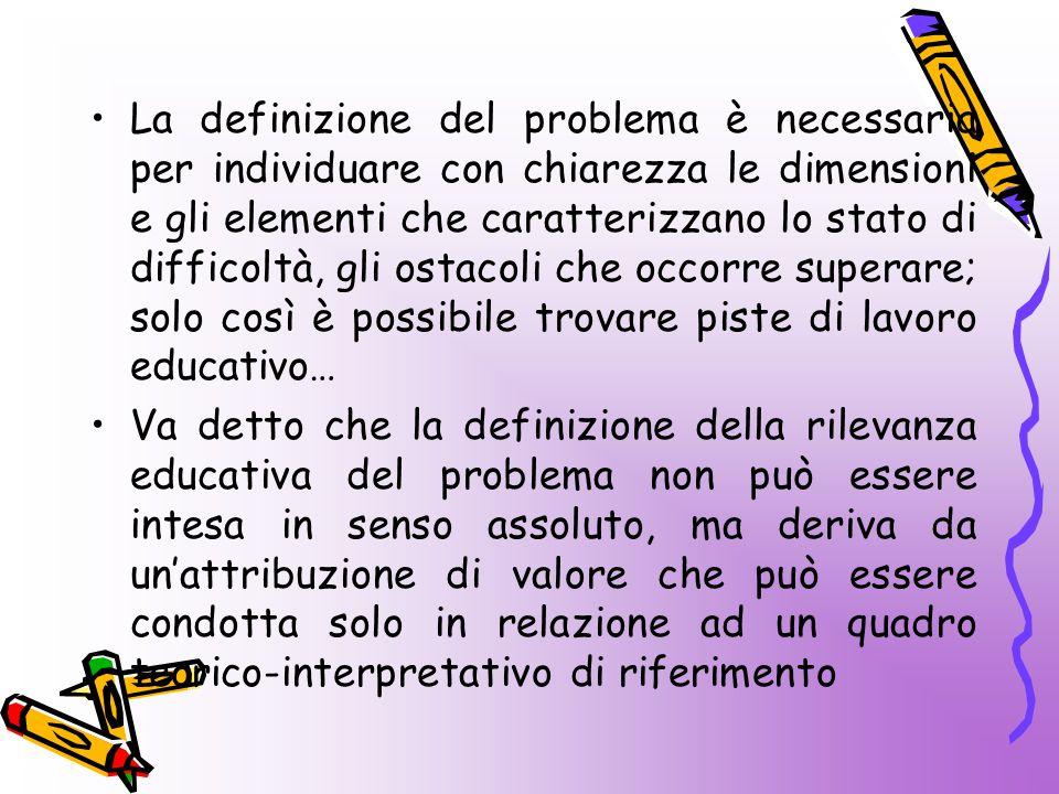 La definizione del problema è necessaria per individuare con chiarezza le dimensioni e gli elementi che caratterizzano lo stato di difficoltà, gli ost